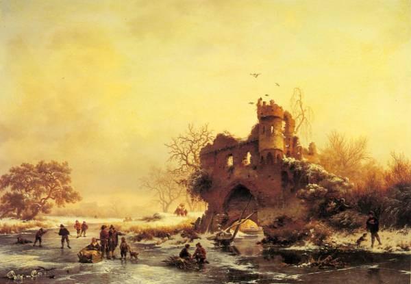 Winter Landscape With Skaters On A Frozen River Beside Castle Ruins